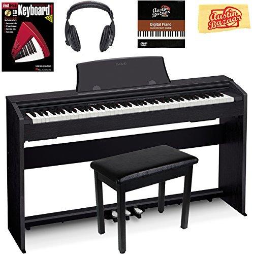 Casio Privia PX-770 Piano digital – Paquete negro con banco de muebles, libro de instrucciones, DVD de instrucciones del Bazar de Austin y paño de pulido