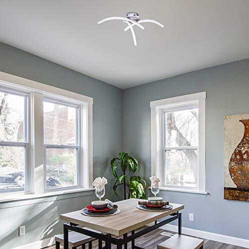 Konesky Lámpara De Techo Led, 21W Lámpara De Araña De Diseño Moderno Y Elegante Acabado En Níquel Satinado Con 3 Luces Curvas Para Sala De Estar Dormitorio Comedor Cocina Pasillo