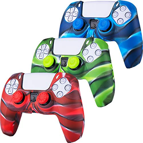 3 x YoRHa Custodia in Silicone Cover Skin per Sony PS5 Dualsense Controller (Camou Rosso Blu Verde ) con Copri levette Analogiche x 10