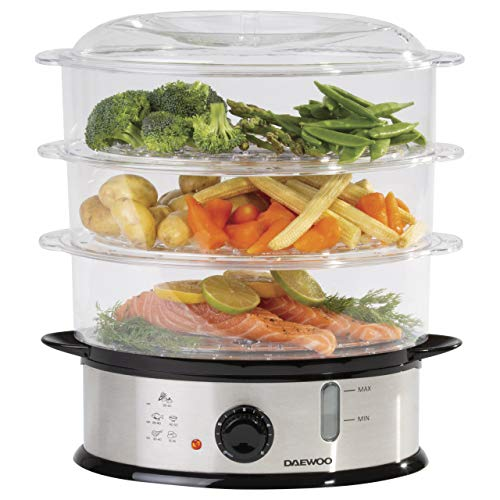 Daewoo 3 Layer Food Steamer, 9L Capacity, Stainless Steel with Black Dial, Automatic Shut Off with Rice Bowl Included, Water Level Indicator, Dishwasher Safe Tiers, Steam 0-30 Minutes - 1200W, SDA1338