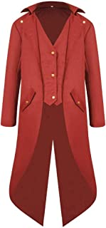 Men's Steampunk Vintage Tailcoat Jacket Gothic Victorian Frock Black Steampunk Buttons Coat Uniform Costume