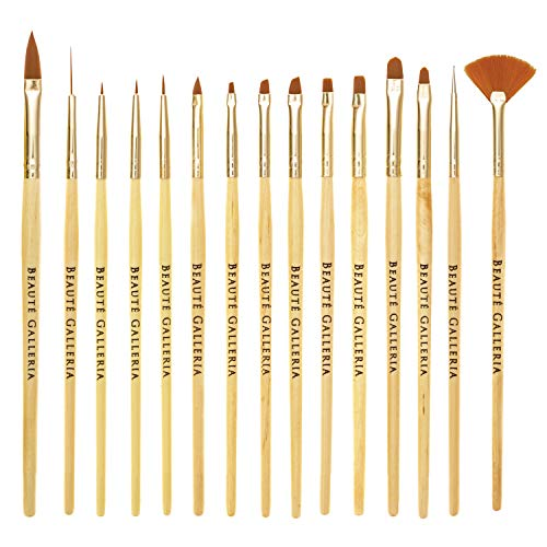 Beaute Galleria 15 Pieces Nail Art Brush Set for Detailing, Striping, Blending, One-Stroke Nail Art with Gel Brushes, Painting Brushes, 3D Brush, Dotting Tool, Fan Brush and Liner