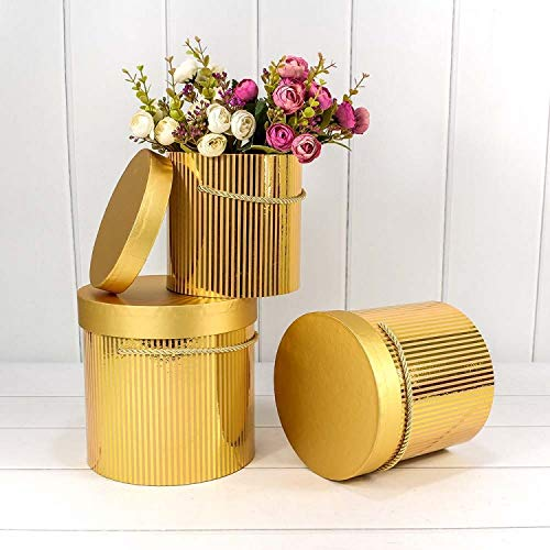 Set van 2 ronde bloemenboxen met koord, opbergdoos met deksel, eenkleurige hoedendoos, cadeaudozen, personaliseerbaar 1) 20 x 18 cm, 2) 18 x 15 cm 3) 14 x 13 cm Gouden gestreept