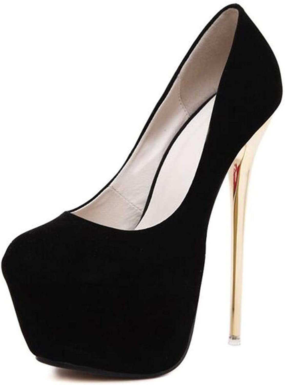 Sam Look Sexy high-Heeled shoes Wedding shoes Simple high-Heeled shoes Flocking shoes 16cm