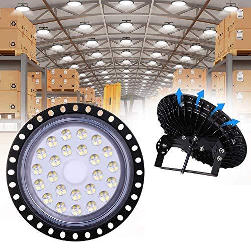 UFO LED Iluminación, WZTO 10000LM 100W Techo de Cristal 6000K-6500K Impermeable IP65, Brillante Iluminación Comercial Bahía Luces Almacén led Lámpara de Techo de Cristal- Garantía de 2 años
