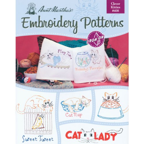 (Kitties) - Aunt Martha's Clever Kitties Embroidery Transfer Pattern Book Kit