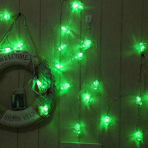 DAFEICHUAN Lámpara, 10/20 / 4 0LED Purple Spider String Light Battery Opere Halloween String Lights para Halloween House Garden Yard Party Decoration (Color : Green, Size : 3M 20leds)