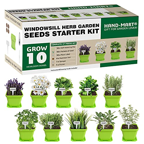 10 Herb Window Garden - Indoor Herb Growing Kit - Kitchen Windowsill Starter Kit - Includes Everything You Need to Easily Grow Herbs from Scratch - Gardening DIY Gift for Women & Men