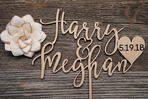 Personalisierte Hochzeitstortenaufsatz aus Holz mit Namen und Datum Hochzeit Topper Braut Dusche Topper Kalligraphie Holz Kuchen Topper