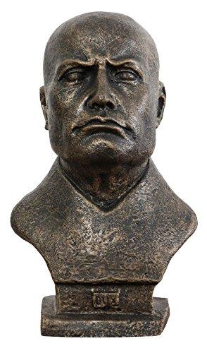 Biscottini Mezzo Busto del Duce in ghisa Finitura bronzata Anticata 19x22x33 cm