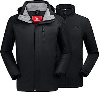 Men's Ski Jacket 3 in 1 Waterproof Winter Jacket Snow Jacket Windproof Hooded with Inner Warm Fleece Coat