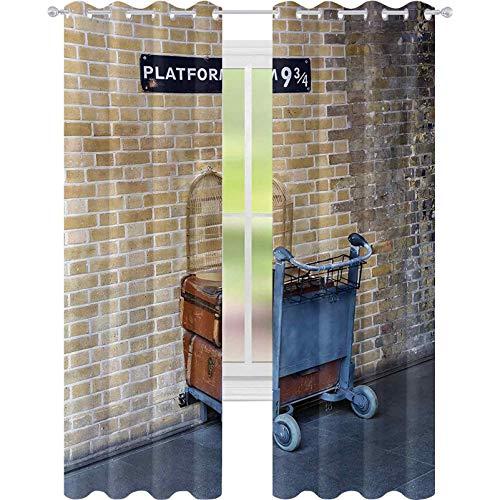 Cortinas opacas para dormitorio, camino secreto al tren a los reyes mágicos del mundo Cross Station, famoso punto de referencia, cortinas opacas de 52 x 72 para habitación de los niños, color marrón