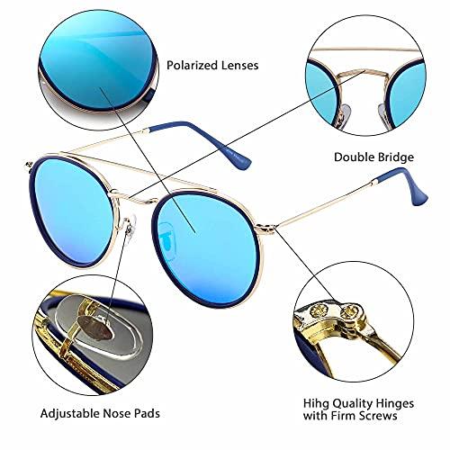 JIM HALO Occhiali da Sole Polarizzati Rotondi
