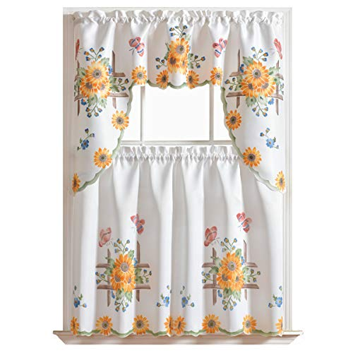 3pcs Kitchen Curtain / Cafe Curtain Set, Air-brushed By Hand of SUNFLOWER & BUTTERFLY Design on THICK SATIN FABRIC