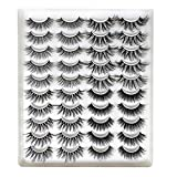 20 Pairs Mixed Styles False Eyelashes 3D Faux Mink Eyelashes Wispies Fluffy Natural Long Lashes Extension Beauty Makeup Tools Handmade Cruelty-free (GT51)