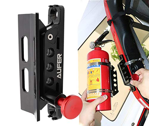 (1-Year Warranty) Universal Adjustable Roll Bar Fire Extinguisher Mount Holder Fit for Jeep Wrangler UTV Polaris RZR Can Am and Large Motorcycle,Aluminum