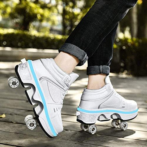 Zapatos De Skate para Niñas 2 En 1, Zapatos De Skate Ajustables Multiusos con Luces LED De 7 Colores, Zapatos Deportivos Al Aire Libre para Cumpleaños,White High Top-40
