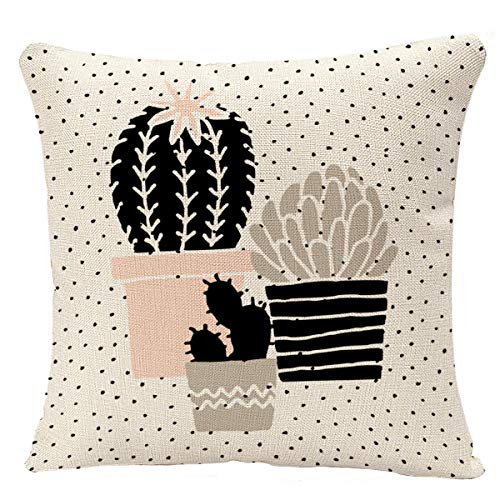 YGGQF Throw Pillow Cover Abstract Cactus Plants in Black White Taupe and Pastel Pink Scandinavian Style Modern and Elegant Cacti Decorative Pillow Cushion Cover Pillowcase 18 x 18 Inch