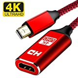 4K Mini DisplayPort to HDMI Adapter, Capshi Thunderbolt to HDMI Adapter [Smart,Aluminum Shell] Mini DisplayPort to HDMI for MacBook air/Pro,Surface Pro/Dock/Book, Monitor, HDTV,Projector, More - Red