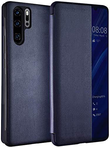 Caler Hülle Kompatibel Huawei P20 Lite Hülle,Smart Case-Ansicht, Spiegel Cover Clear View Crystal Case Flip Intelligenten Schutzhülle Handyhülle etui Huelle mit Frau Mirror Tasche Ledertasche