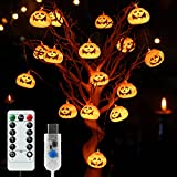 ハロウィーン飾り カボチャライト パーティーデコレーション ストリングライト LED 屋外/屋内/新年会/祭りの雰囲気 イルミネーションライト かぼちゃ/幽霊/クモ/魔/Halloween USB式 8種類切替モード/5種明るさ 20 LEDライト&3.6m カボチャ6.5*5cm