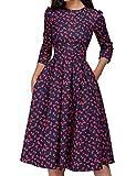 Simple Flavor Women's Floral Vintage Dress Elegant Autumn Midi Evening Dress 3/4 Sleeves (Red,XXL)