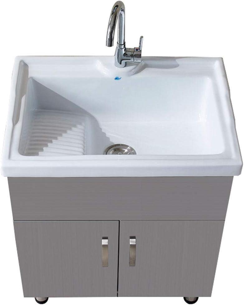 XCJJ Lavabo de lavabo de cerámica con tocador de baño de acero inoxidable, lavadero/lavamanos y gabinete, tina grande para limpieza y lavado,71cm-b