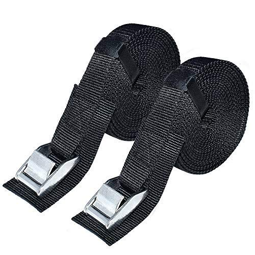 """Premium Lashing Strap 1"""" x 13 ft,Tie Down Straps with Heavy Duty Cam Buckle with Sturdy Pad Secure Straps up to 1000 lbs Capacity for SUP, Kayak, Surboard, Cargo, Trailer, Luggage and More, 2 PCS/Set"""
