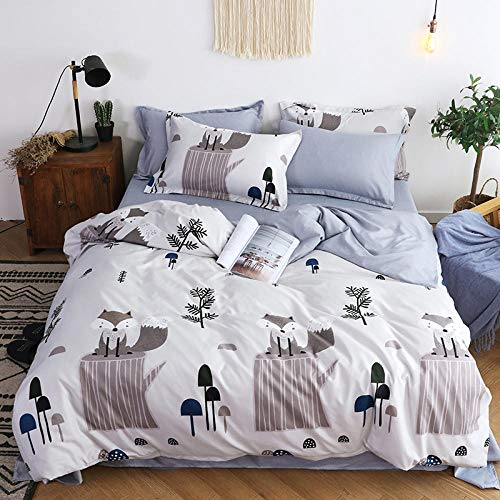 Bxnthd 3D Duvet Cover Set Single size Cartoon forest animal fox Print Bedding Set Colorful Comforter Cover Set Soft Microfiber Polyester Quilt Cover with 2 Pillow Shams, Zipper, 3 Pieces 135 x