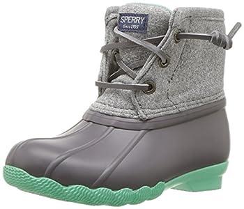 Sperry Girls  Saltwater Boot Snow Grey/Mint 6 Medium US Big Kid