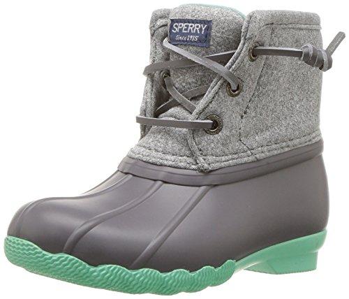 Sperry Girls' Saltwater Boot Snow, Grey/Mint, 6 Medium US Big Kid