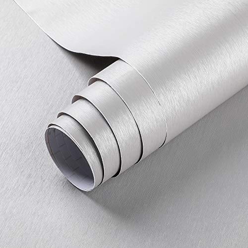 Lámina adhesiva de aspecto metálico autoadhesiva gris cepillado para muebles 60x500 cm PVC lámina decorativa para cocina frigorífico armarios de cocina puerta muebles electrodomésticos y decoración
