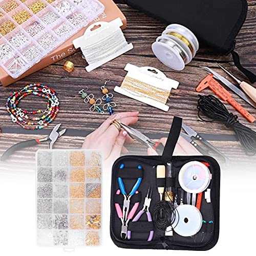 Suministros para hacer joyas, conjunto seguro para hacer joyas, simple con bolsa con cremallera para mujeres, para hacer joyas, iniciador para bricolaje para niñas