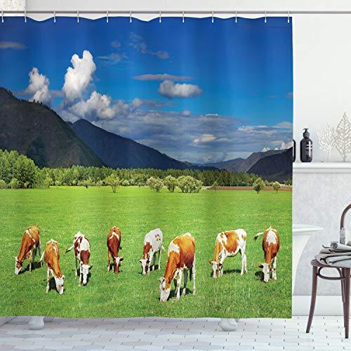 ABAKUHAUS Das Vieh Duschvorhang, Berge Kühe weiden, mit 12 Ringe Set Wasserdicht Stielvoll Modern Farbfest & Schimmel Resistent, 175x180 cm, Mehrfarbig