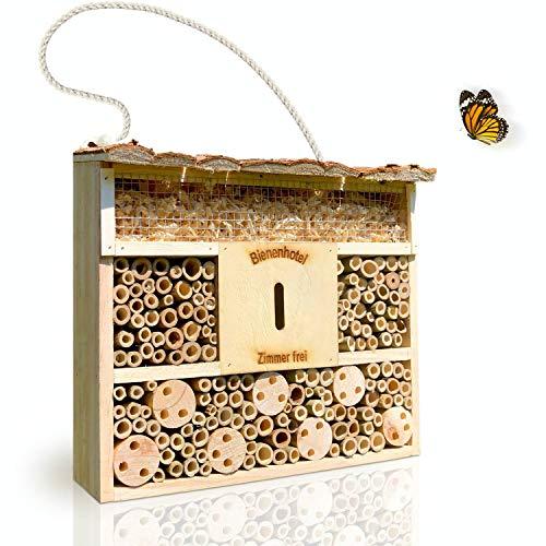 deinTierhaus | Hotel de insectos hecho de materiales naturales - Caja nido y refugio para abejas y otros especies|Casita de bambú y madera29,5x10x28,5 cm- Protección de insectos en tu hogar