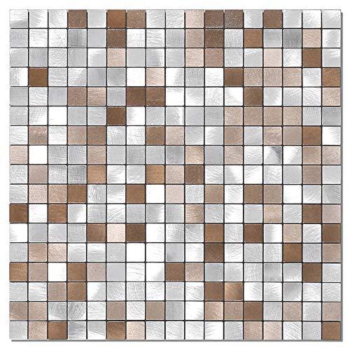 BeNice Piastrelle Adesive Cucina,Piastrelle Adesive Parete Bagno Metallo Mosaico Adesivo Per Piastrelle(5Pezzo Marrone)