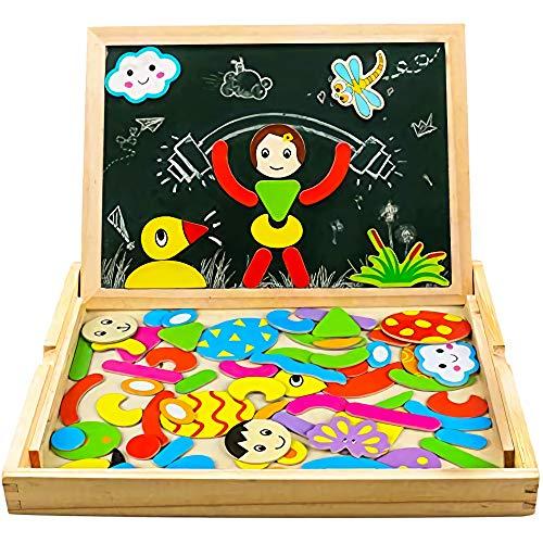 Yixin Magnetico Lavagna Puzzle di Legno Giochi Montessori Magnetica Lavagnetta a Double Face Magnetica Puzzle Apprendimento Educativo Magnetici Giochi Creativi Costruzioni Gioco per Bambini
