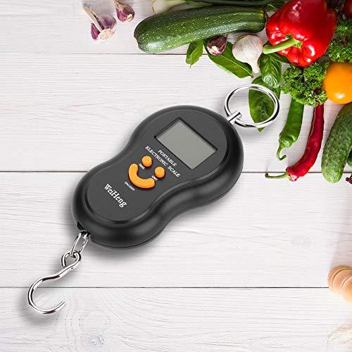 VGEBY1 Báscula Digital eléctrica, Pantalla LCD portátil, báscula Colgante con Gancho para pesaje de pesaje pesaje(Negro)