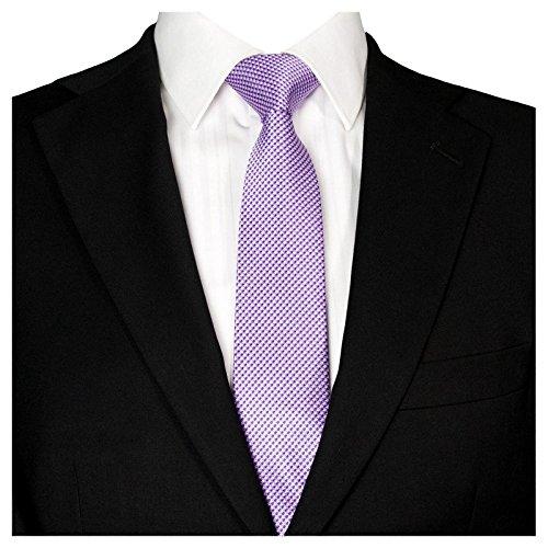 GASSANI Schmale Herren-Krawatte Violette-Weisse Vichy Karo-Muster, Skinny Slim Dünne Karierte Hochzeitskrawatte Herrenschlips, Moderne Breite 7cm