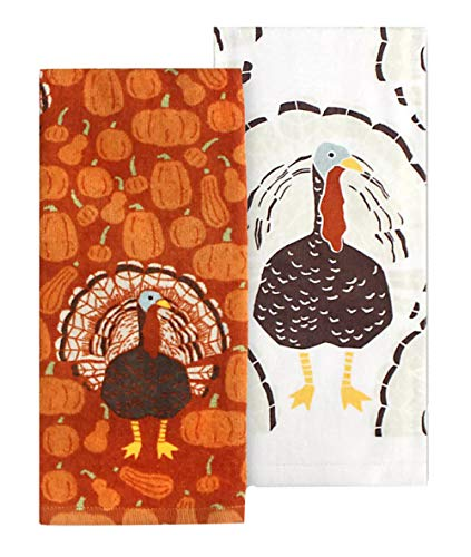 Celebrate Fall Thanksgiving Turkey Kitchen Towel Set of 2 Coordinating Autumn Pumpkin Design Dish Towels for Harvest Decoration, 16.5 x 26 Inches, Cotton Construction