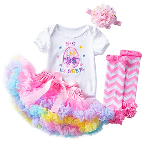 My First Easter Outfit Baby Girl Short Sleeve Romper+Tutu Skirt+Headband+Leg Warmers Clothes Set (Multicolor, 3-6 Months)