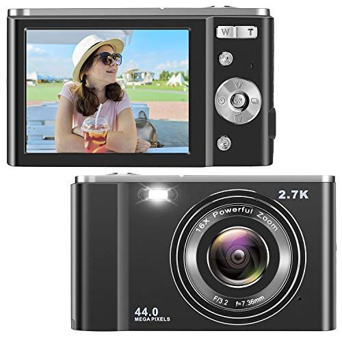 IEBRT Digital Camera, 2.7K 44MP Kid Vlogging Camera Video Camera LCD Screen 16X Digital Zoom 36MP Rechargeable Point and Shoot Camera for Compact Portable Kids Teens Gift (2.8 inch Black)
