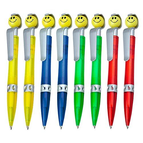 WPRO Kugelschreiber Sunny 8 Stück | Mitgebsel Gastgeschenk Kindergeburtstage |Jungen & Mädchen| mit Smiley Kinder-Kulli Stift Kindergeburtstags Mitgebsel | |Kugelschreibmine Blau, 4 Farben