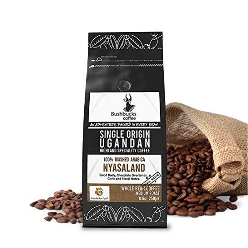 Bushbucks 100% Ugandan Arabica Whole Bean Coffee | Single origin | 1lb and Extra 2 Ounce Free | Chocolate overtones| Citric | Good body &Floral notes | Handpicked coffee beans | Medium roast coffee