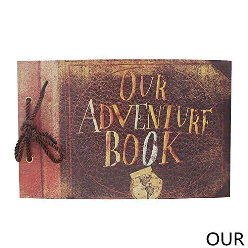 Feixiangge ÁLbum De Fotos, áLbum De Bricolaje Hecho a Mano Pasta Vintage Kraft Paper Tether Album Our Adventure Book Up Family Scrapbook Photo Album. Nuestros