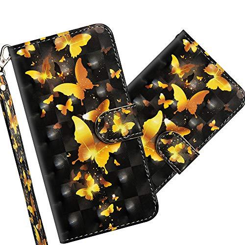 COTDINFOR Nokia 3.2 Hülle 3D-Effekt Painted cool Schutzhülle Flip Bookcase Handy Tasche Schale mit Magnet Standfunktion Etui für Nokia 3.2 Golden Butterflies YX.