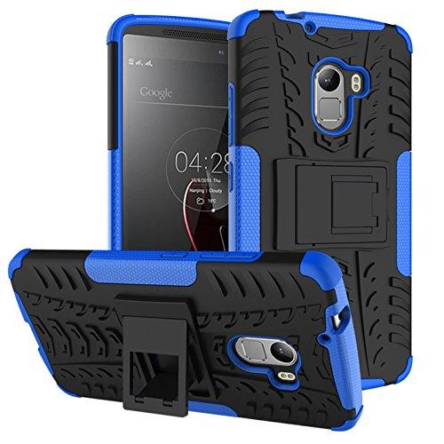 TiHen Handyhülle für Lenovo K4 Note/A7010/X3 lite Hülle, 360 Grad Ganzkörper Schutzhülle + Panzerglas Schutzfolie 2 Stück Stoßfest zhülle Handys Tasche Bumper Hülle Cover Skin mit Ständer -Blau