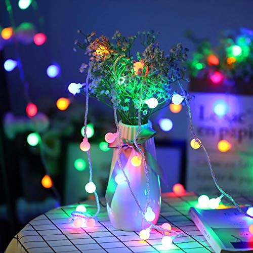 Fulighture Globe String Lights, 16ft 40LEDs Ball Fairy Lights, Battery Powered, Waterproof Decoractive for Indoor Outdoor Lighting, Bedroom, Wedding, Party, Christmas, Tree Decoration(Multi-Color)
