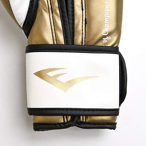 Everlast Women's Powerlock Hook/Loop Gloves, 12 oz, White/Gold