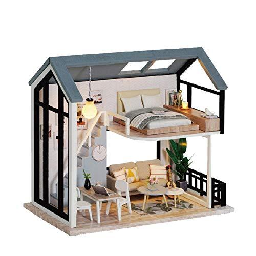 Estrella-L Casa de muñecas miniatura con muebles, kit de bricolaje más cubierta de polvo, escala 1:24 nórdico pequeño dúplex montado a mano y hecho lindo modelo juguetes creativos regalos 001